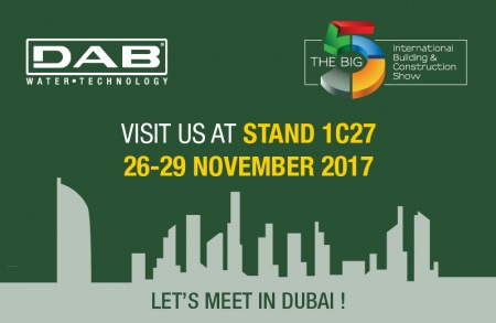From 26 to 29 November 2017, DAB will be at the Dubai BIG5 Expo, the annual trade show that connects buyers and suppliers in the building trade in the Middle East, South-East Asia and North Africa.